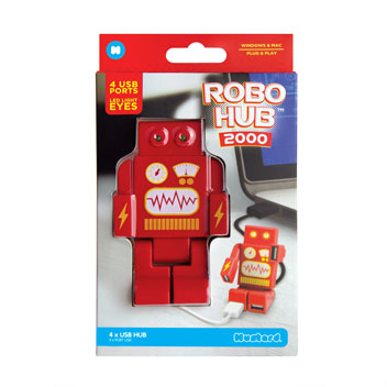 RoboHub 2000 4-Port USB Novelty Robot Hub - Red