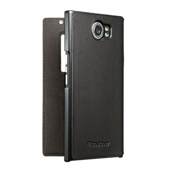 Official BlackBerry Priv Leather Flip Case - Black