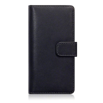 Olixar Leather-Style Sony Xperia M5 Wallet Case - Black / Tan