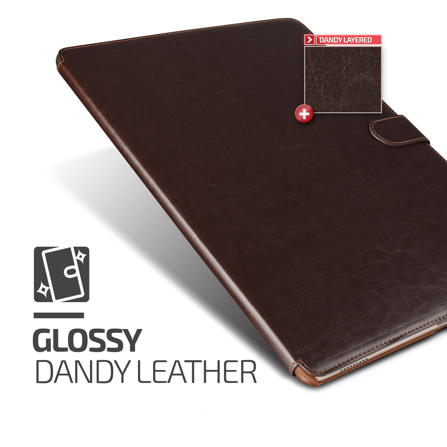 Verus Dandy Leather-Style iPad Pro Case - Dark Brown