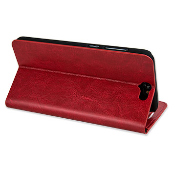 Olixar Leather-Style HTC One A9 Wallet Stand Case - Red