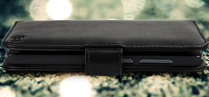 Olixar Premium HTC One A9 Genuine Leather Wallet Case - Black
