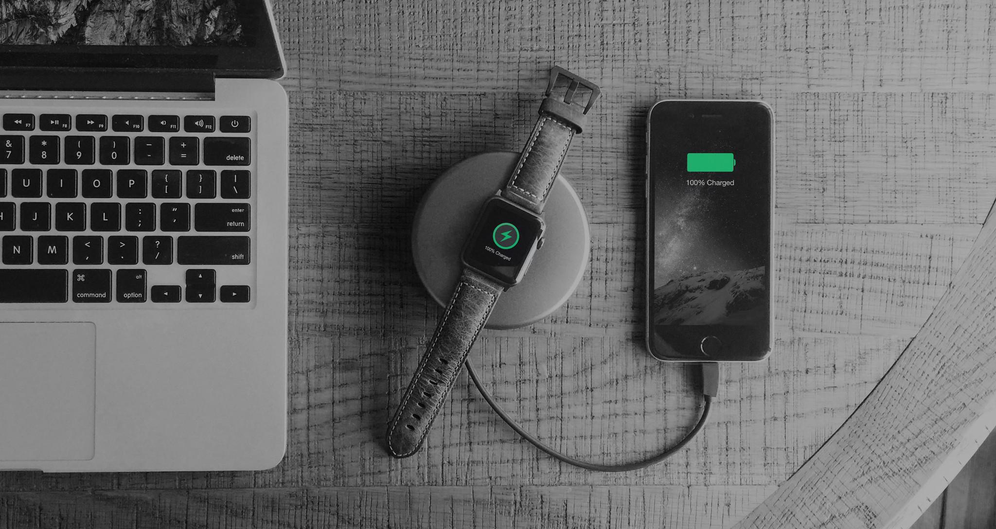 Nomad Pod Pro Apple Watch & Lightning Power Bank - Grey
