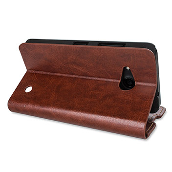 Olixar Leather-Style Microsoft Lumia 550 Wallet Stand Case - Brown