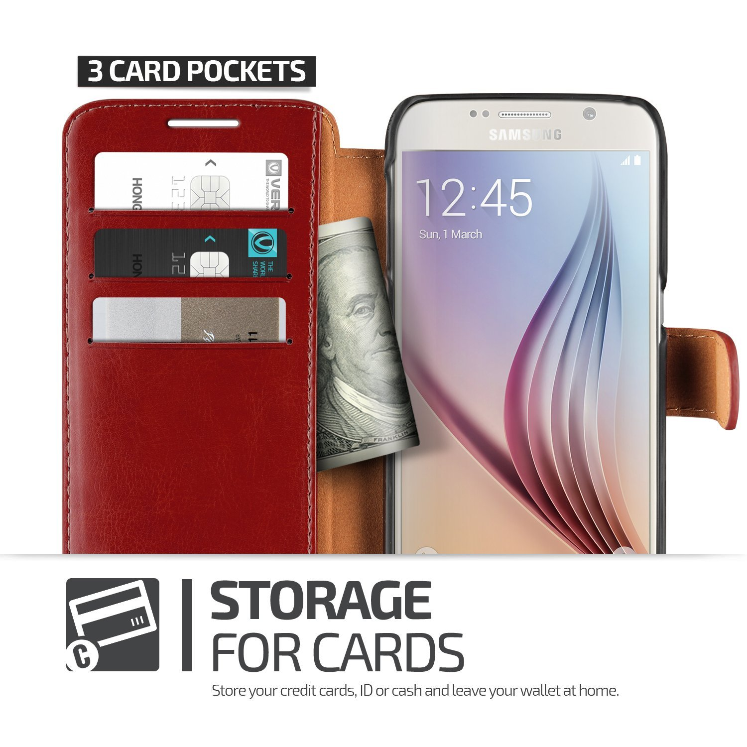 Verus Dandy Leather-Style Samsung Galaxy S6 Wallet Case - Red