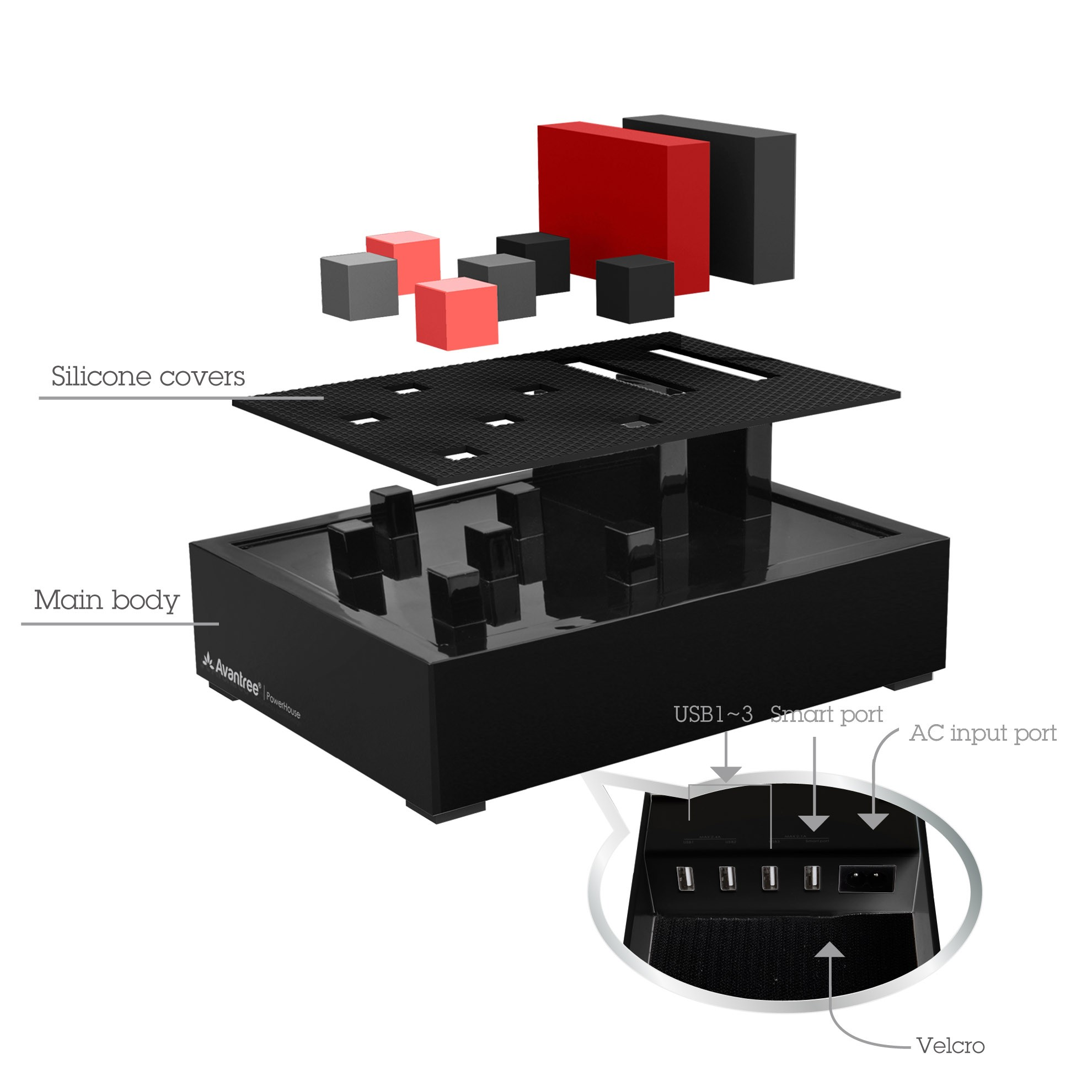 Avantree PowerHouse Desk USB Charging Station - Black