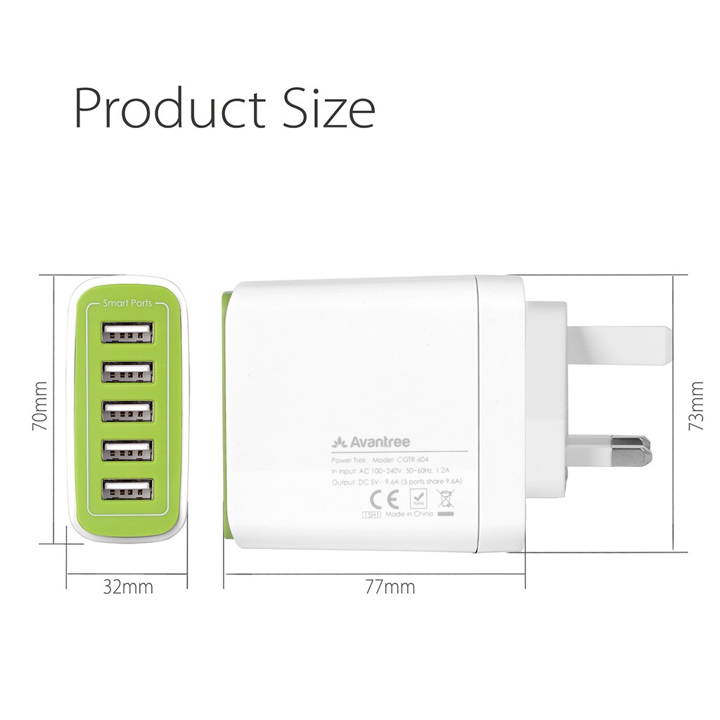 Avantree Power Trek 5 USB Mains Charger - White