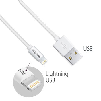 Avantree MFI Lightning to USB Sync & Charge Short Cables - 2 Pack