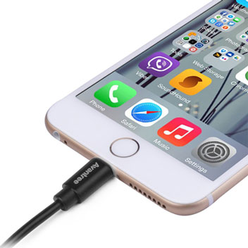 Avantree 2x MFI Lightning to USB Sync & Charge Short Cables - Black