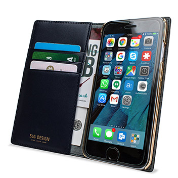 SLG Genuine Leather Fabric iPhone 6S / 6 Wallet Case - Blue