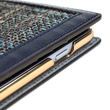 SLG Genuine Leather Fabric iPhone 6S Plus / 6 Plus Wallet Case - Navy