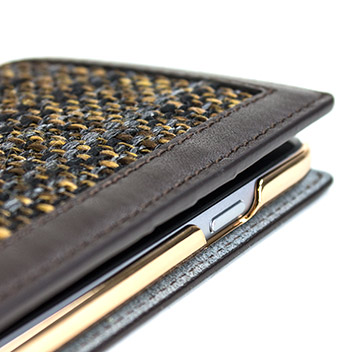 SLG Genuine Leather Fabric iPhone 6S Plus / 6 Plus Wallet Case - Brown