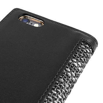 SLG Genuine Leather Fabric iPhone 6S / 6 Wallet Case - Black