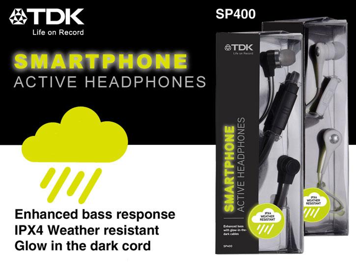 TDK SP400 Active Weather-Resistant Glow-in-the Dark Earphones - White