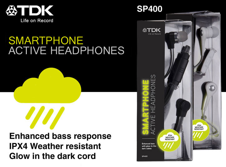 TDK SP400 Active Weather-Resistant Glow-in-the Dark Earphones - Black