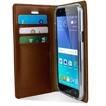 Mercury Blue Moon Samsung Galaxy J5 Wallet Case - Brown