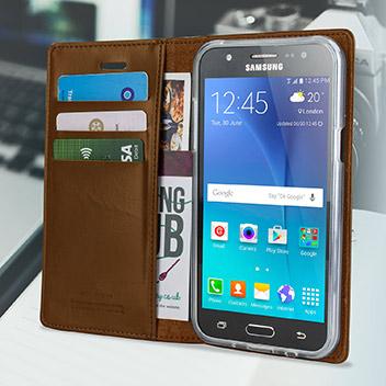 Mercury Blue Moon Samsung Galaxy J5 Wallet Case - Brown