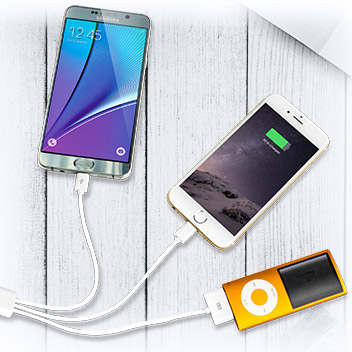 4-in-1 Charging Cable (Apple, Galaxy Tab, Micro USB) - White - 1 metre