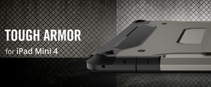 Spigen Tough Armor iPad Mini 4 Case - Smooth Black