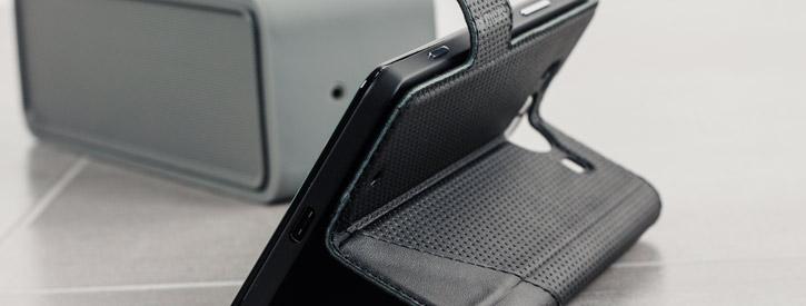 Mozo Microsoft Lumia 950 Genuine Leather Wallet Flip Cover - Black