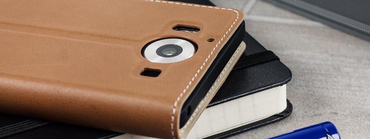 Mozo Microsoft Lumia 950 Genuine Leather Wallet Flip Cover - Cognac