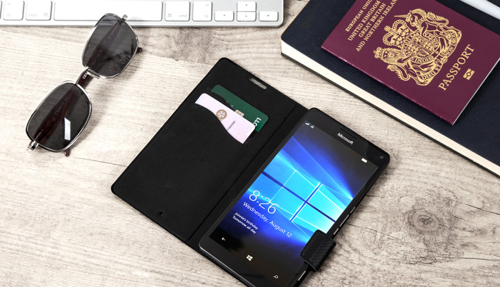 Mozo Microsoft Lumia 950 XL Genuine Leather Wallet Flip Cover - Black