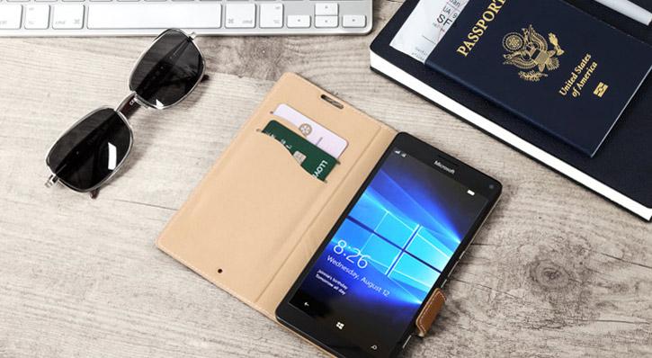 Mozo Microsoft Lumia 950 XL Genuine Leather Wallet Flip Cover - Cognac