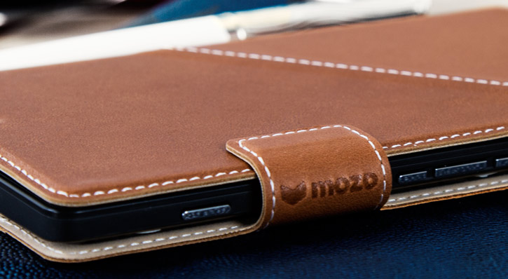Mozo Microsoft Lumia 950 XL Genuine Leather Wallet Flip Cover - Cognac