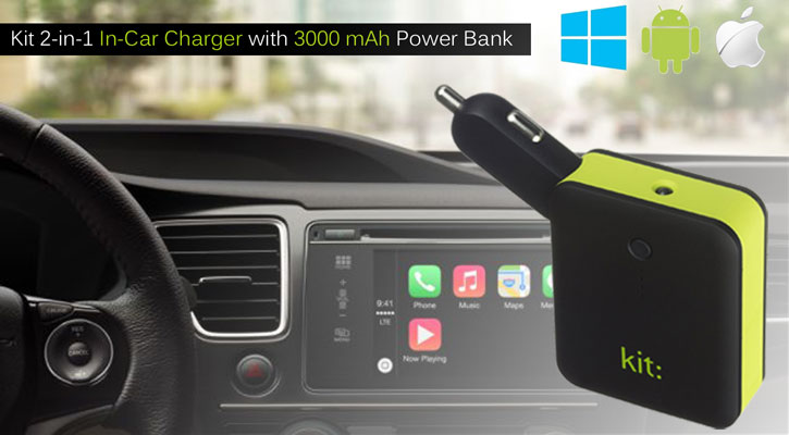 Kit 2-in-1 Universal In-Car Charger with 3000 mAh Power Bank