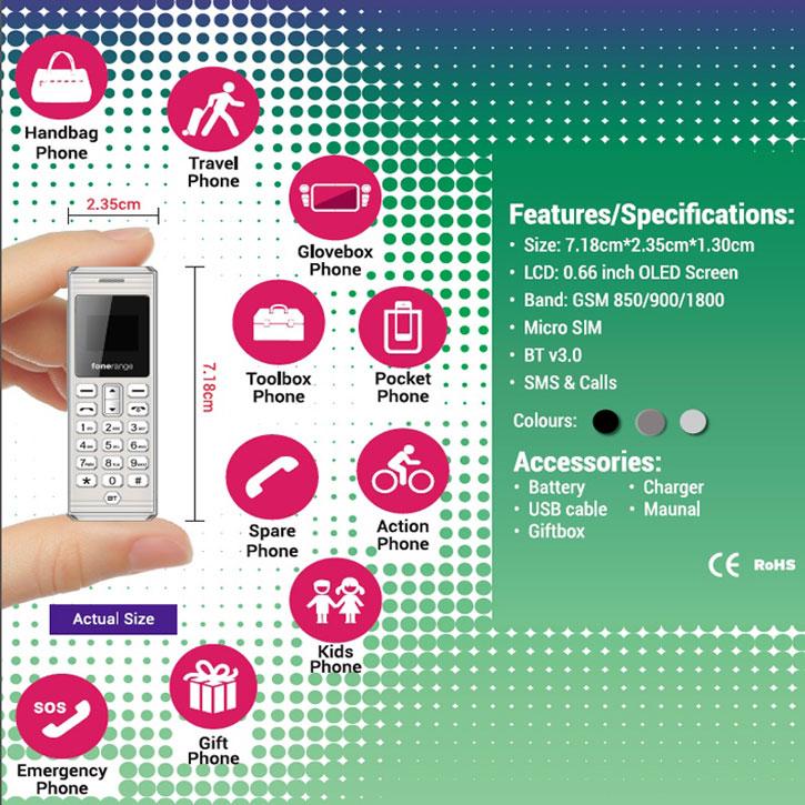 Sim Free Fonerange The Dot Unlocked - Worlds Smallest Phone