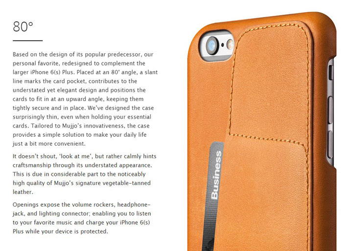 Mujjo Leather Wallet Case 80° for iPhone 6S/6 - Gray