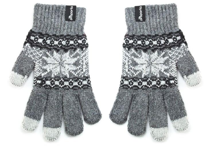 Gants Tactiles Proporta Unisexe – Gris Clair / Blanc