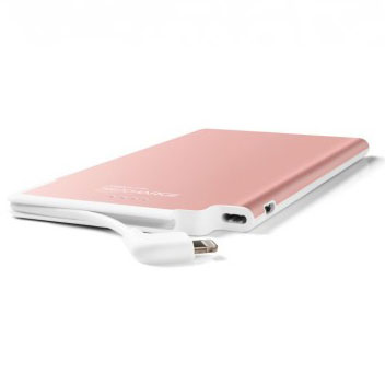 TECHLINK Recharge 3000mAh Power Bank & Genuine Leather Case -Rose Gold