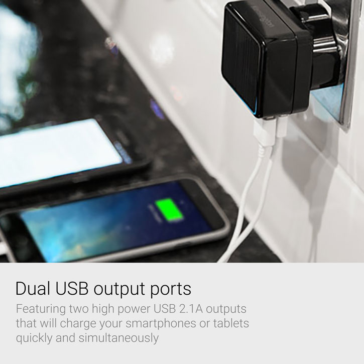 Kensington AbsolutePower 4.2A Dual USB Travel Mains Charging Adapter