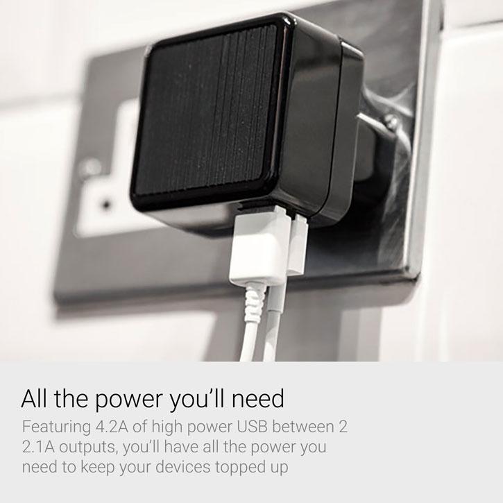 Kensington AbsolutePower 4.2A Dual USB Travel Mains Charging Adapter
