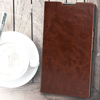 Olixar Leather-Style BlackBerry Priv Wallet Stand Case - Brown