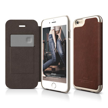 Elago iPhone 6S Plus / 6 Plus Leather Flip Case - Gold & Brown