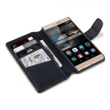 Olixar Premium Real Leather Huawei P8 Wallet Case - Black