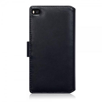 Olixar Premium Real Leather Huawei P8 Wallet Case - Black