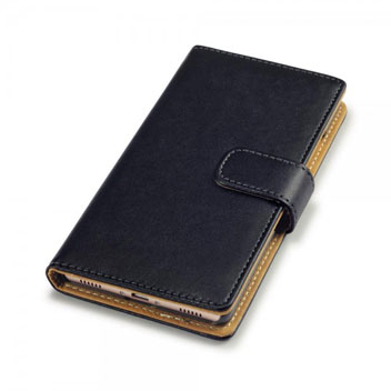 Olixar Leather-Style Huawei P8 Wallet Case - Black / Tan