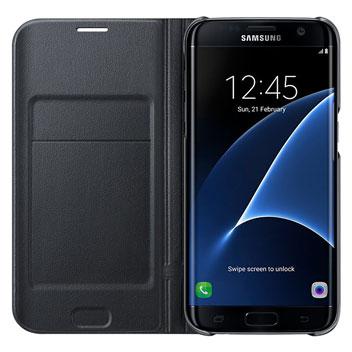 Flip Wallet Cover Officielle Samsung Galaxy S7 Edge - Noire vue intérieure