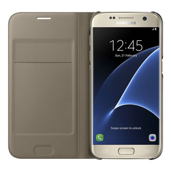 Official Samsung Galaxy S7 Flip Wallet Cover - Gold