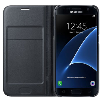 Official Samsung Galaxy S7 LED Flip Wallet Cover - Black