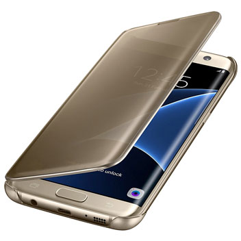 Official Samsung Galaxy S7 Edge Clear View Cover Case - Gold