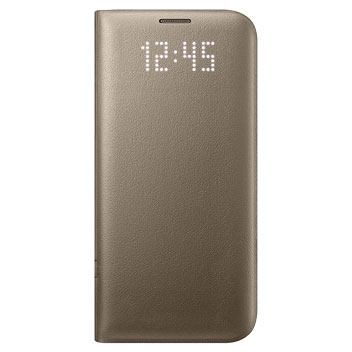 official samsung galaxy s7 edge led flip wallet cover gold 1