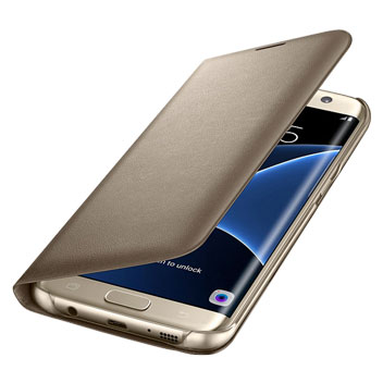 Official Samsung Galaxy S7 Edge LED Flip Wallet Cover - Gold