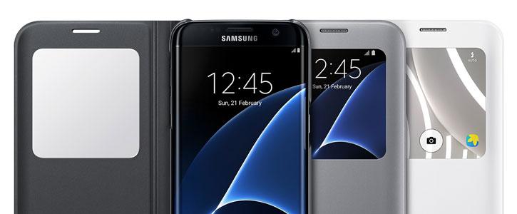 Funda oficial Samsung Galaxy S7 Edge S-View Cover - Oro