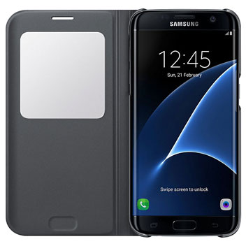 S View Cover Officielle Samsung Galaxy S7 Edge – Noire vue intérieure