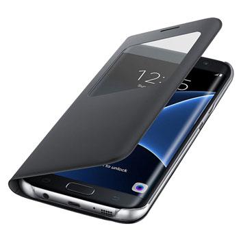 S View Cover Officielle Samsung Galaxy S7 Edge – Noire vue sur ports