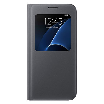 Official Samsung Galaxy S7 S View Premium Cover Case - Black